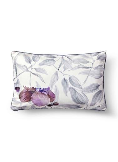 The Mia Yaprak Yastık - Beyaz Gri Çiçekli 50 x 30cm Beyaz